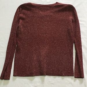 Old Navy V-Neck Cable Sweater Mauve Speckle XL